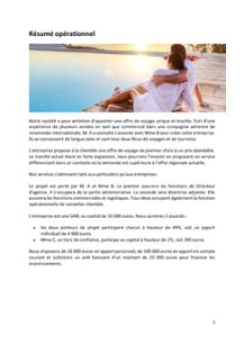 Business Plan Agence-de-voyage Page 2