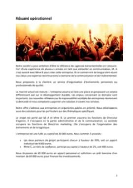 Business Plan Agence-evenementielle Page 2