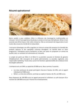 Business Plan Boulangerie-traditionnelle Page 2