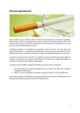 Business Plan Commerce-de-cigarettes-electroniques Page 2