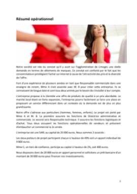 Business Plan Commerce-de-pret-a-porter Page 2