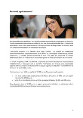 Business Plan Conciergerie-pour-particuliers-et-entreprises Page 2
