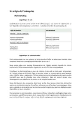 Business Plan Cours-de-cuisine-a-domicile Page 9