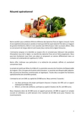 Business Plan Epicerie-fine Page 2