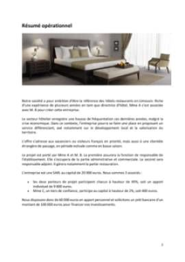 Business Plan Hotel-restaurant Page 2