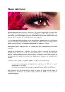 Business Plan Institut-de-beaute Page 2
