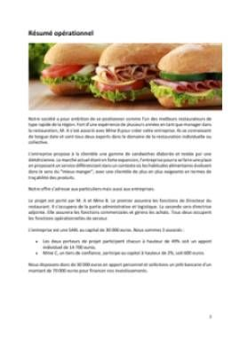 Business Plan Restauration-rapide Page 2