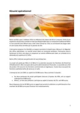 Business Plan Salon-de-the Page 2