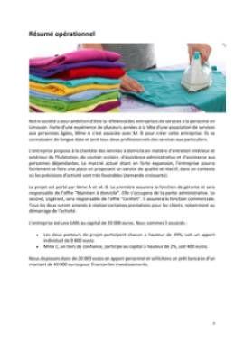 Business Plan Services-a-la-personne Page 2